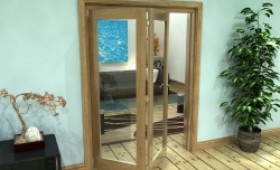 Glazed Oak Prefinished 2 Door Roomfold Grande (2 + 0 X 762mm Doors) Image