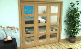 Glazed Oak Prefinished 3 Door 4l Roomfold Grande (3 + 0 X 610mm Doors) Image