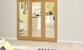 Glazed Oak Prefinished 3 Door Roomfold Deluxe 1800mm (6ft) Set Image