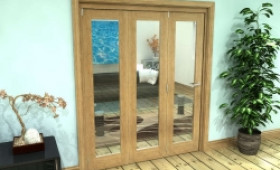 Glazed Oak Prefinished 3 Door Roomfold Grande 1800mm (6ft) Set Image