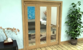 Glazed Oak Prefinished 3 Door Roomfold Grande (2 + 1 X 533mm Doors) Image