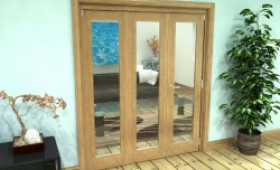 Glazed Oak Prefinished 3 Door Roomfold Grande (2 + 1 X 610mm Doors) Image