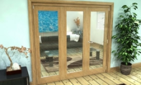 Glazed Oak Prefinished 3 Door Roomfold Grande (2 + 1 X 686mm Doors) Image