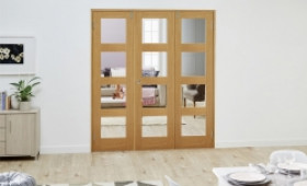 Glazed Oak Prefinished 3 Door Shaker 4l Frenchfold ( 3 X 533mm Doors ) Image