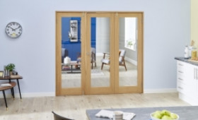Glazed Oak Prefinished 3 Door Shaker Frenchfold (3 X 610mm Doors) Image