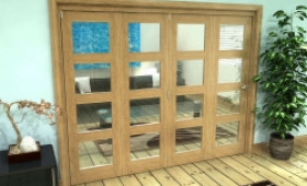 Glazed Oak Prefinished 4 Door 4l Roomfold Grande (4 + 0 X 610mm Doors) Image