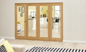 Glazed Oak Prefinished 4 Door Roomfold Deluxe 2400mm (8ft) Set Image