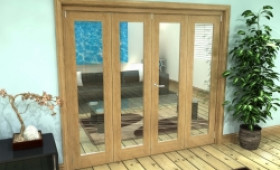 Glazed Oak Prefinished 4 Door Roomfold Grande (2 + 2 X 533mm Doors) Image