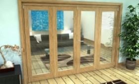 Glazed Oak Prefinished 4 Door Roomfold Grande (2 + 2 X 762mm Doors) Image
