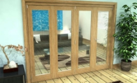 Glazed Oak Prefinished 4 Door Roomfold Grande (3 + 1 X 610mm Doors) Image