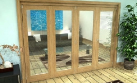 Glazed Oak Prefinished 4 Door Roomfold Grande (3 + 1 X 762mm Doors) Image