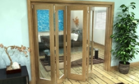 Glazed Oak Prefinished 4 Door Roomfold Grande (4 + 0 X 533mm Doors) Image