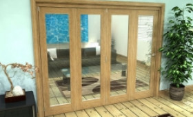 Glazed Oak Prefinished 4 Door Roomfold Grande (4 + 0 X 610mm Doors) Image