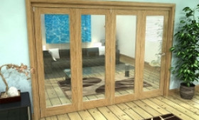 Glazed Oak Prefinished 4 Door Roomfold Grande (4 + 0 X 762mm Doors) Image