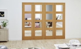 Glazed Oak Prefinished 4 Door Shaker 4l Frenchfold ( 4 X 686mm Doors ) Image