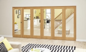 Glazed Oak Prefinished 6 Door Roomfold Deluxe (5+1 X 2