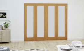 Glazed Oak Shaker Frenchfold Room Divider - Frosted Image
