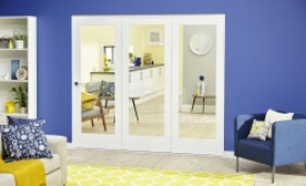 Glazed White Roomfold Deluxe - Clear Glass Image