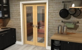 "Oak Prefinished French Door Set  - 21"" Pair Image"
