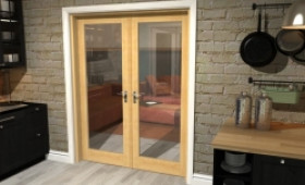 "Oak Prefinished French Door Set  - 30"" Pair Image"