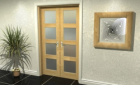 "4l Frosted Oak French Door Set  - 21"" Pair Image"