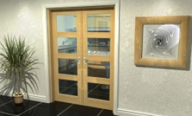 "Oak 4l French Door Set  - 24"" Pair Image"