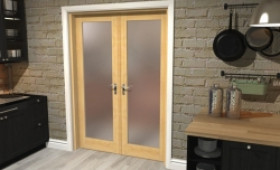 "Obscure Oak French Door Set  - 27"" Pair Image"