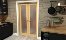 "Obscure Oak French Door Set  - 22.5"" Pair Image"