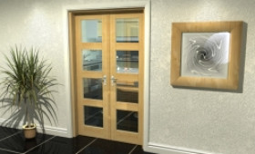 "Oak 4l French Door Set  - 22.5"" Pair Image"