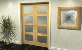 "4l Frosted Oak French Door Set  - 22.5"" Pair Image"