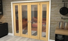 "Oak Prefinished French Door Set  - 21"" Pair + 2 X 16.5"" Sidelights Image"