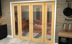 "Oak Prefinished French Door Set - 27"" Pair + 2 X 21"" Sidelights Image"