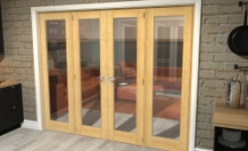 "Oak Prefinished French Door Set  - 22.5"" Pair + 2 X 18"" Sidelights Image"