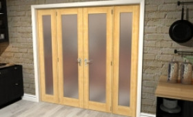 "Obscure Oak French Door Set  - 21"" Pair + 2 X 15"" Sidelights Image"