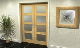 """4l Frosted Oak French Door Set  - 21"""" Pair + 2 X 15"""" Sidelights Image"""