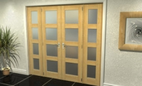 """4l Frosted Oak French Door Set  - 21"""" Pair + 2 X 16.5"""" Sidelights Image"""