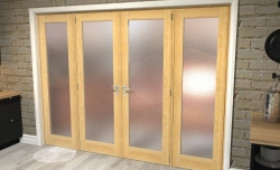"Obscure Oak French Door Set  - 24"" Pair + 2 X 16.5"" Sidelights Image"