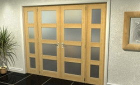 "4l Frosted Oak French Door Set  - 24"" Pair + 2 X 15"" Sidelights Image"