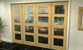 "Oak 4l French Door Set - 27"" Pair + 2 X 21"" Sidelights Image"