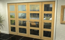 "Oak 4l French Door Set - 30"" Pair + 2 X 22.5"" Sidelights Image"