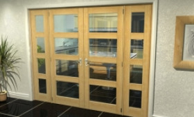 "Oak 4l French Door Set  - 22.5"" Pair + 2 X 16.5"" Sidelights Image"