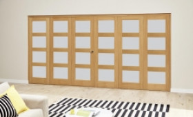 Oak 4l Shaker Glazed Roomfold Deluxe (3 + 3 X 686mm Doors) Image