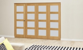 Oak 4l Shaker Glazed Roomfold Deluxe (4 X 610mm Doors) Image