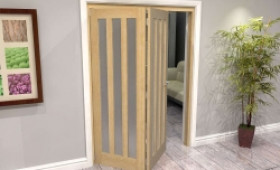 Oak Aston Frosted Glazed 2 Door Roomfold Grande (2 + 0 X 762mm Doors) Image