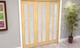 Oak Aston Frosted Glazed 3 Door Roomfold Grande (2 + 1 X 610mm Doors) Image