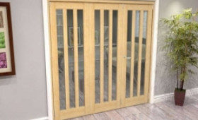 Oak Aston Glazed 3 Door Roomfold Grande (2 + 1 X 686mm Doors) Image