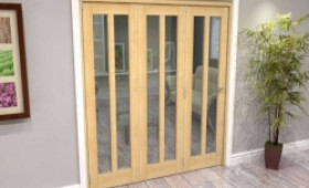 Oak Aston Glazed 3 Door Roomfold Grande (3 + 0 X 610mm Doors) Image