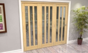 Oak Aston Glazed 3 Door Roomfold Grande (3 + 0 X 686mm Doors) Image