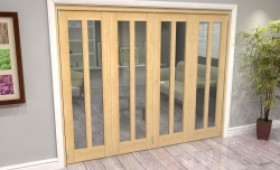 Oak Aston Glazed 4 Door Roomfold Grande (2 + 2 X 610mm Doors) Image