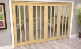 Oak Aston Glazed 4 Door Roomfold Grande (3 + 1 X 762mm Doors) Image